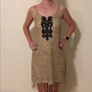 Metallic gold dress with fringe